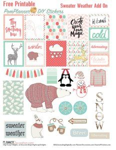 Free Planner Stickers an Add On Pack for the Sweater Weather Planner Kit #plannerlove #planneraddict #plannerstickers