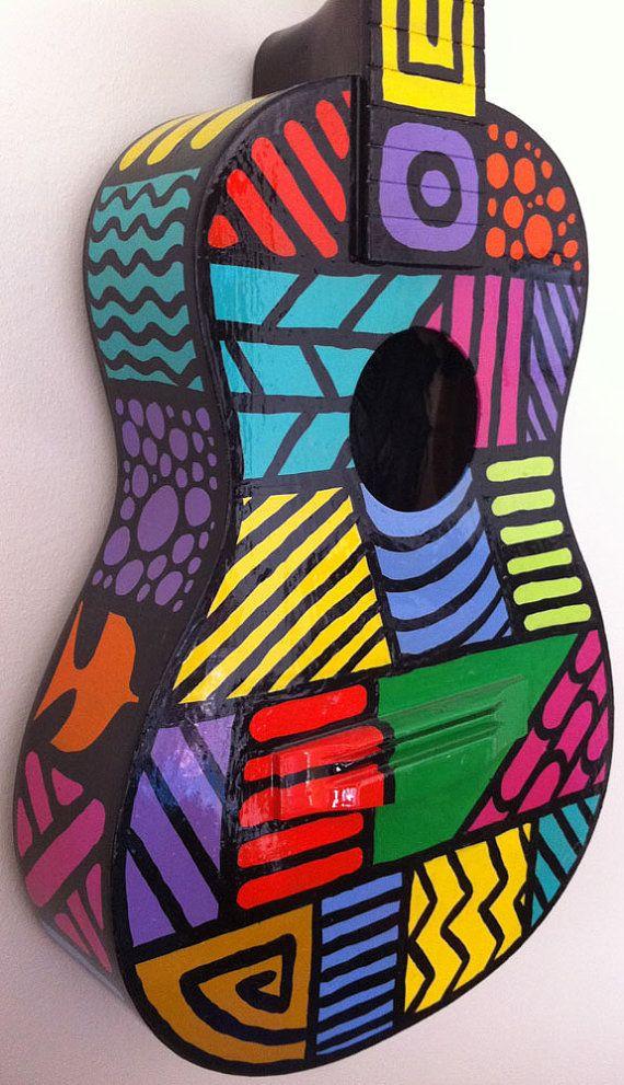 Caribbean Art Guitar by BeesCuriosityShoppe on Etsy, $195.00