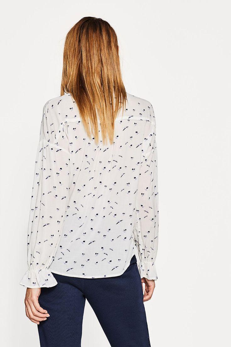 Bluzka z nadrukiem i rękawami z falbanami | ESPRIT