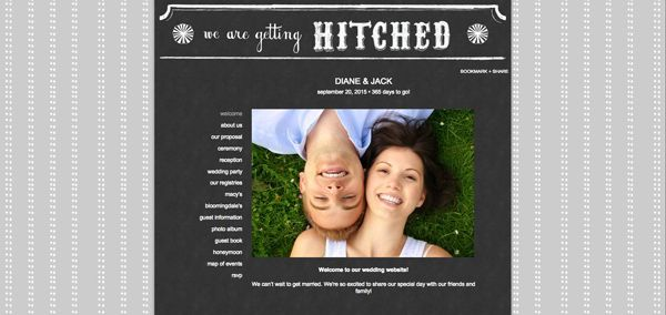 Example free wedding website from the knot
