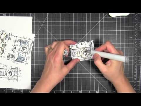 Paper Tole video tutorial--I love the look with those cool blueprint stamps!