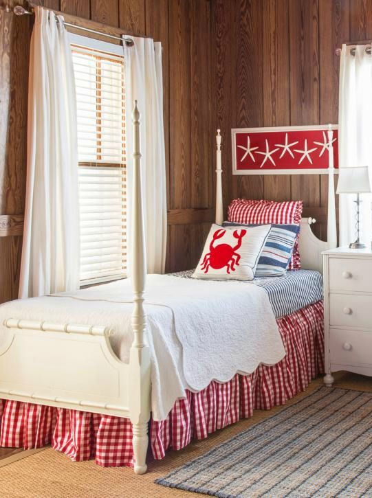 Retro beach cottage bedroom in red
