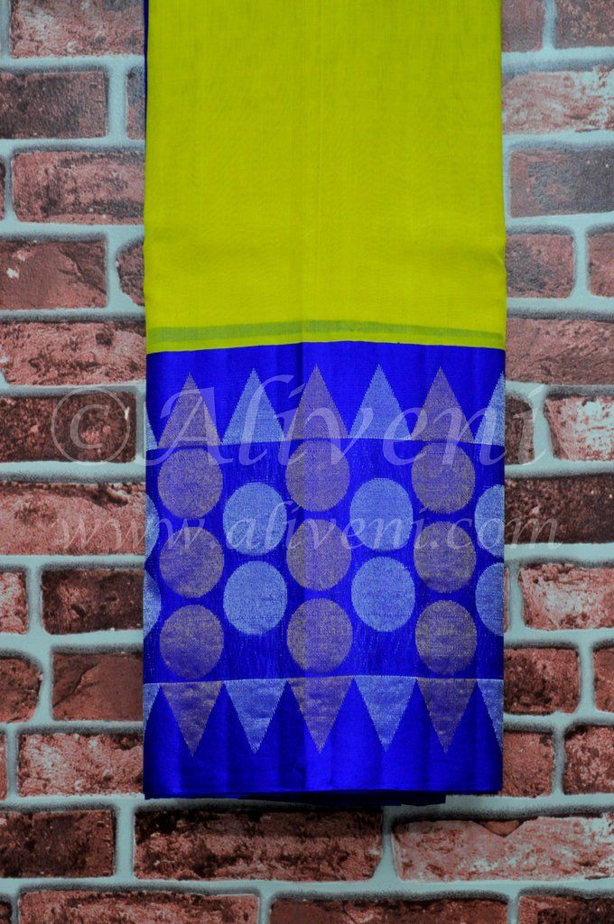 Lemon Yellow Plain Handwoven Saree with Broad Purplish Blue Border
