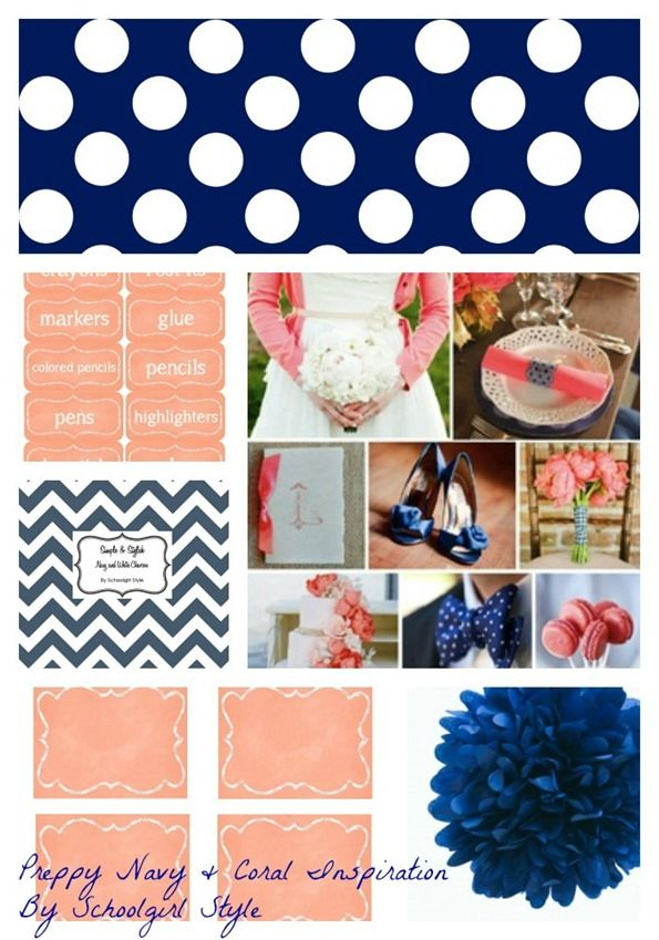 navy coral inspiration by Schoolgirl Style! For classroom decorating themes, organization, bulletin board ideas visit www.schoolgirlstyle.com
