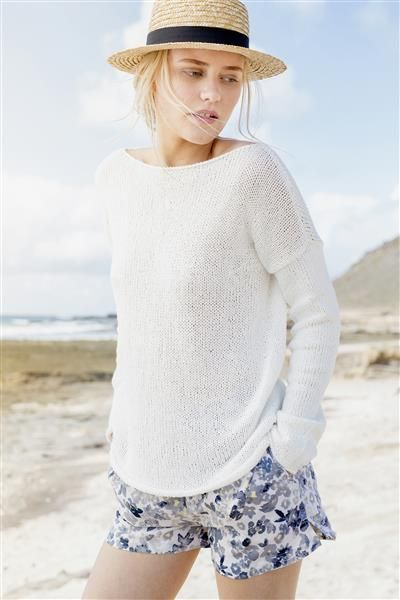 1505: Design 5 Genser med skråfelte skuldre #Line #bomull #cotton #lin #linen