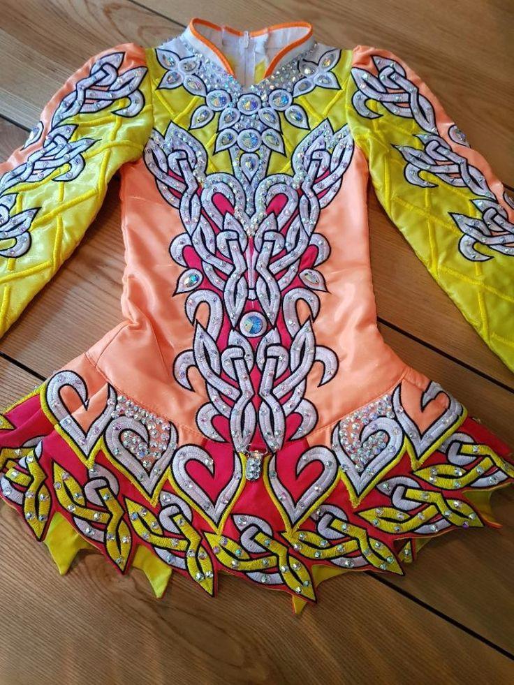 Glamorous Yellow Alana Mallon Irish Dance Dress Solo Costume For Sale