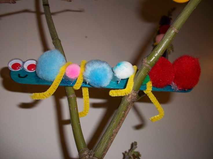 Spring Caterpillar  Items:  Popsickle Stick,  PomPoms,  Pipe Cleaner,  Googly Eyes,  Glue.  Directions:  1) Exercise fine motor skills by squeezing dots of glue on popsickle stick  2)Place pom poms across popsickle stick.    3)Place pipe cleaners along popsickle stick for legs  4)Stick two googly eyes at the top of the popsickle stick  5)Make sure to draw a smiley face under googly eyes  This project was made by a child in the Preschool Program at The Learning TreePompom, Fine Motor, Pom Pom