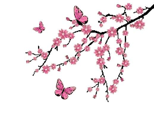Cross Stitch Pattern Pink Cherry Blossom Tree by CrossStitchDiva, $5.00