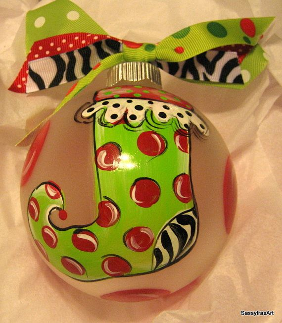 Hand painted ornaments. Sooo cute!  http://www.etsy.com/listing/81073495/christmas-ornament-hand-painted-glass