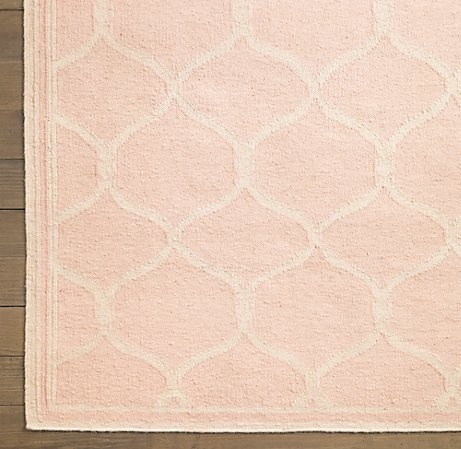Blush trellis dhurrie rug spaces for my girlies for Restoration hardware kids rugs