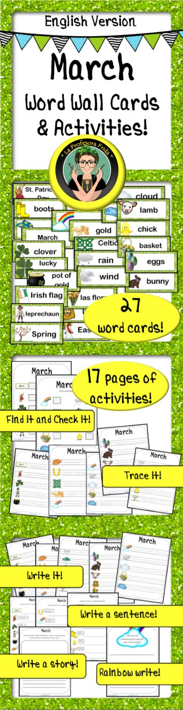 English version / March Word Wall Cards and Activities! Great for your word wall, centers or vocabulary stations!   Vocabulary words include words about St. Patrick's Day, Spring, Weather and Easter. * Find the word and check the box. * Trace the word. * Find the word and write it. * Choose words to write a story. * Use each word to write a complete sentence. * Rainbow writing. La Profesora Frida TpT