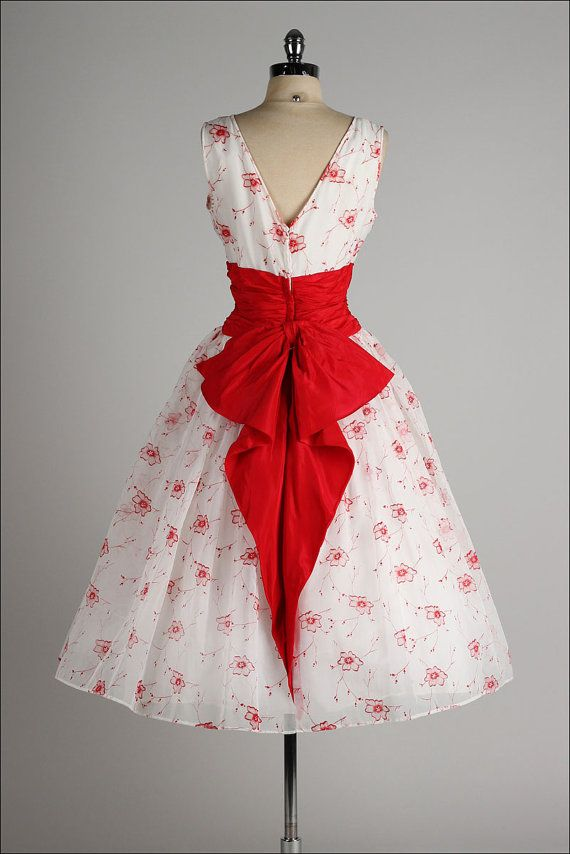 vintage 1950s dress . white chiffon . red by millstreetvintage