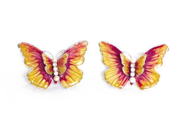 Enamel butterfly hair clips, clip on barrettes, bobby pins, enameled butterflies, hair accessories, bridal hair pieces, for women, for girls