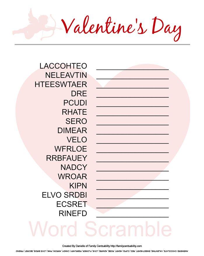 Valentine's Day Printable: Word Scramble (free!)