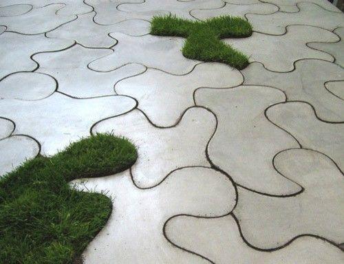 Plant between the lines w/ Puzzle Slab #concrete outdoor tiles #garden