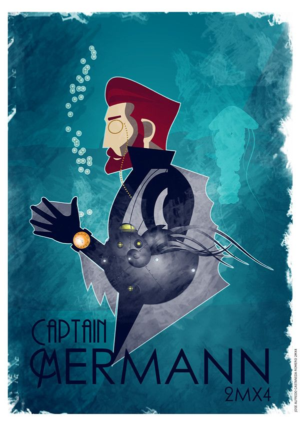 Captain Mermann Poster on Behance ©José Castañeda #vector #art #Illustration #Inkscape