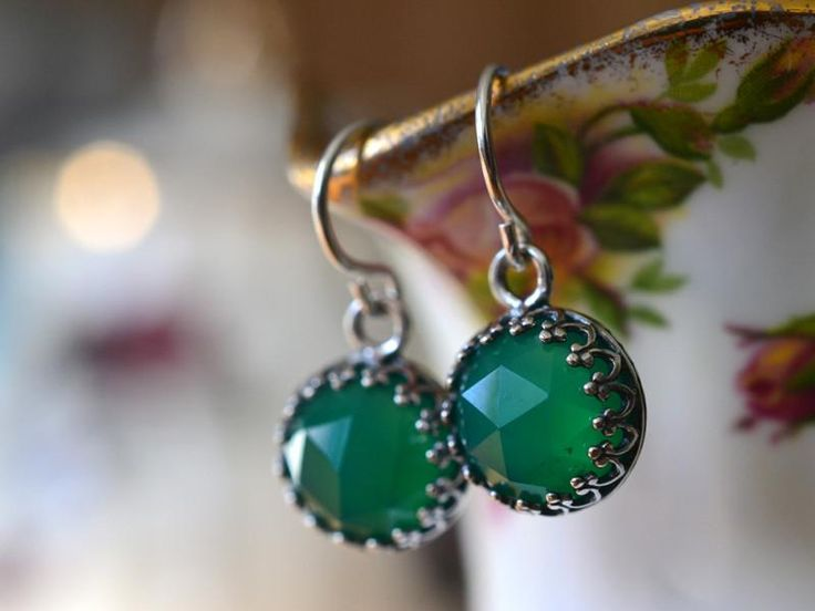 Green Onyx Earrings, Handmade Bridal Jewellery, Sterling Silver