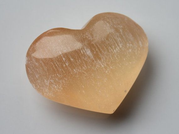 Peach Heart Shaped Selenite Cleansing Stone by zaraluna on Etsy, $10.95