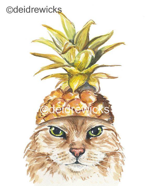Ananas-Aquarell PRINT - 8 x 10 Katze Aquarell, langhaarige Katze lustige Katze Kunst, Küche, Tiermalerei