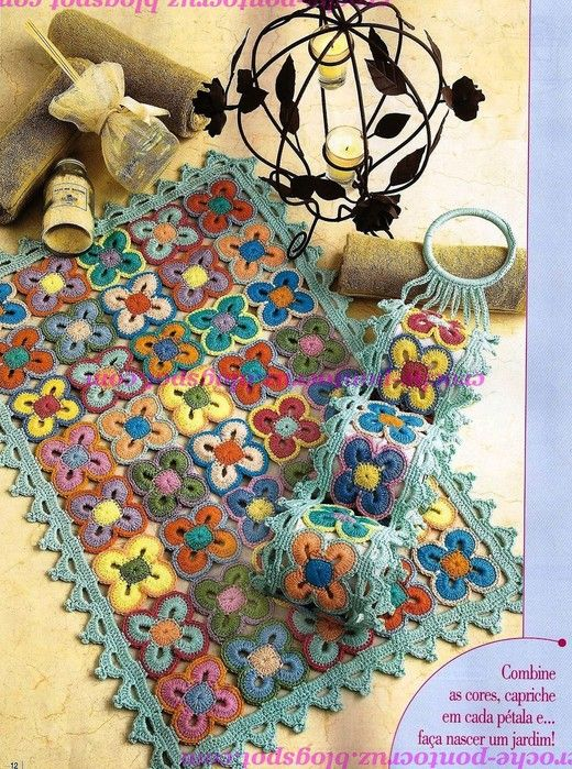 Bathroom rug and toilet paper holder - fully charted #crochet #charts #chart