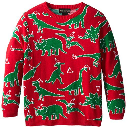 Alex Stevens Big Boys' Ugly Christmas Sweater Dinosaur Scatter, Red Combo ~ Now this is a cute but ugly Christmas kid's sweater!