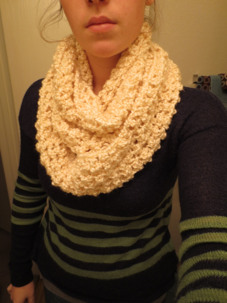 Shiny Cream Infinity Scarf Lion Brand Homespun Yarn Crochet with Homespun ...