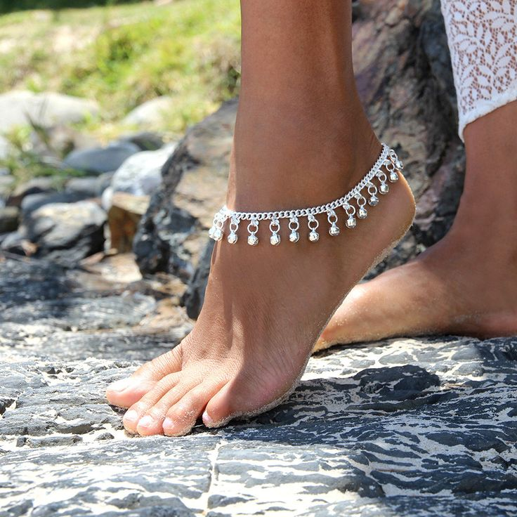 Silver anklet, silver bell anklet, silver charm anklet, Wedding Anklet, Indian ankle chain, Ankle chain, Style: Sahara A1415 by ForeverSoles on Etsy https://www.etsy.com/listing/151875096/silver-anklet-silver-bell-anklet-silver