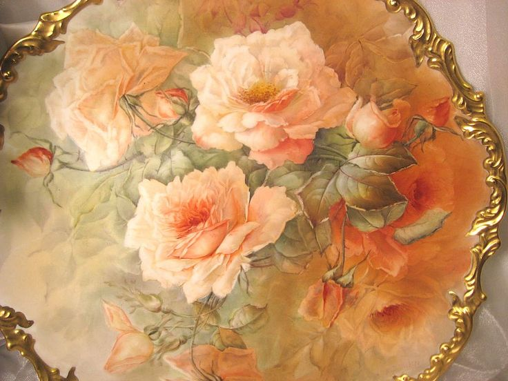 "Stunning Rare Beauty ~ Classic 16"" Antique Hand Painted Limoges Wall Plaque Charger  ~ Breathtaking ROSES ~ Museum Quality Masterpiece Still..."