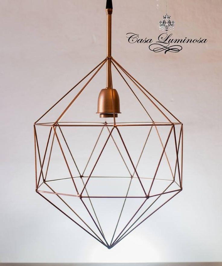 lampara colgante geométrica iluminación vintage diamante