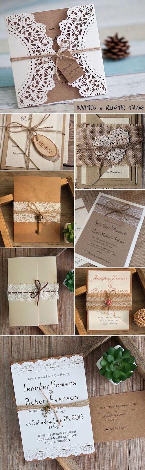 Tarjetas de boda con etiquetas rústicas y creativas para 2017.