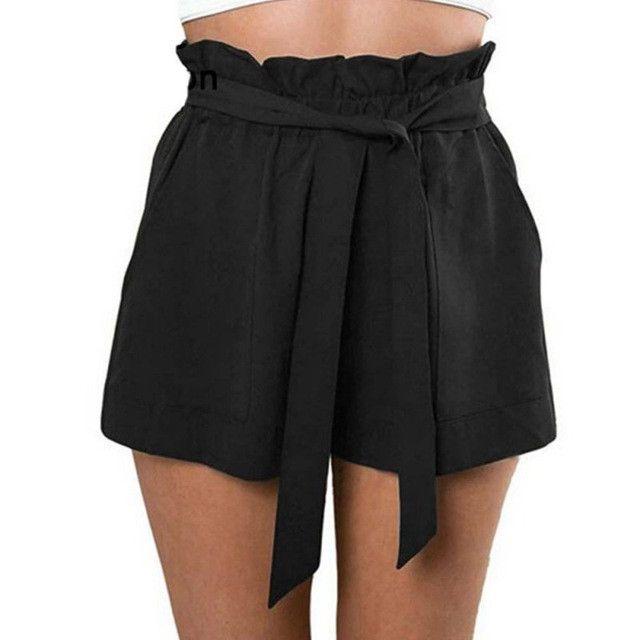 Summer Women Shorts High Waist Loose Shorts Patchwork Fashionable Bow Short Pant female Ruffle With Belt Plus Size