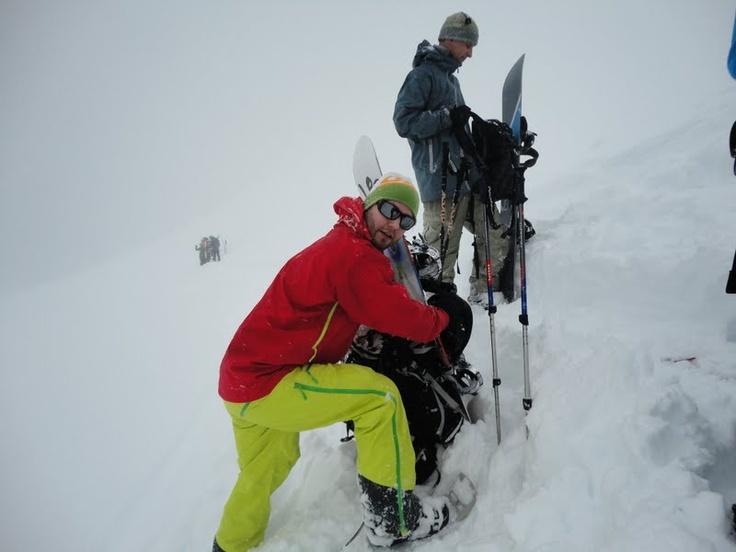 Getting ready to snowboard down Kirketaket in Romsdalen, Norway.