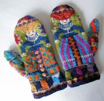 Foolish Virgin Mittens (Kafee Fassett). No pattern - but so LOVELY!