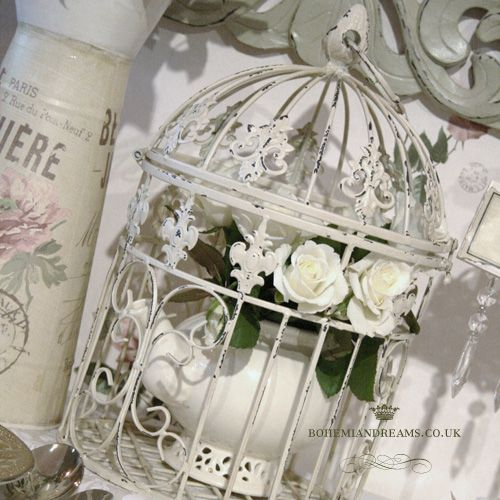 cream victorian birdcage www.bohemiandreams.co.uk