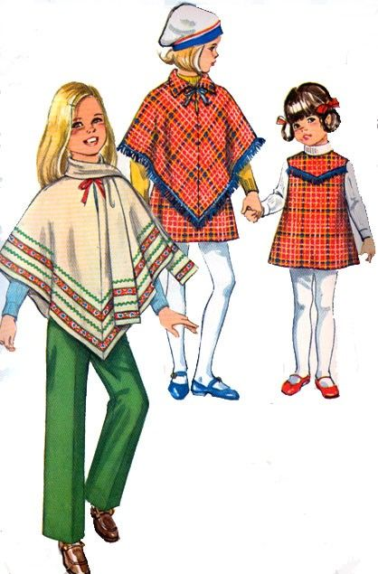 1970s  Girls PONCHO, Jumper, Pants and Scarf Simplicity 8944 Vintage 70s Sewing Pattern Size 7 by sandritocat on Etsy