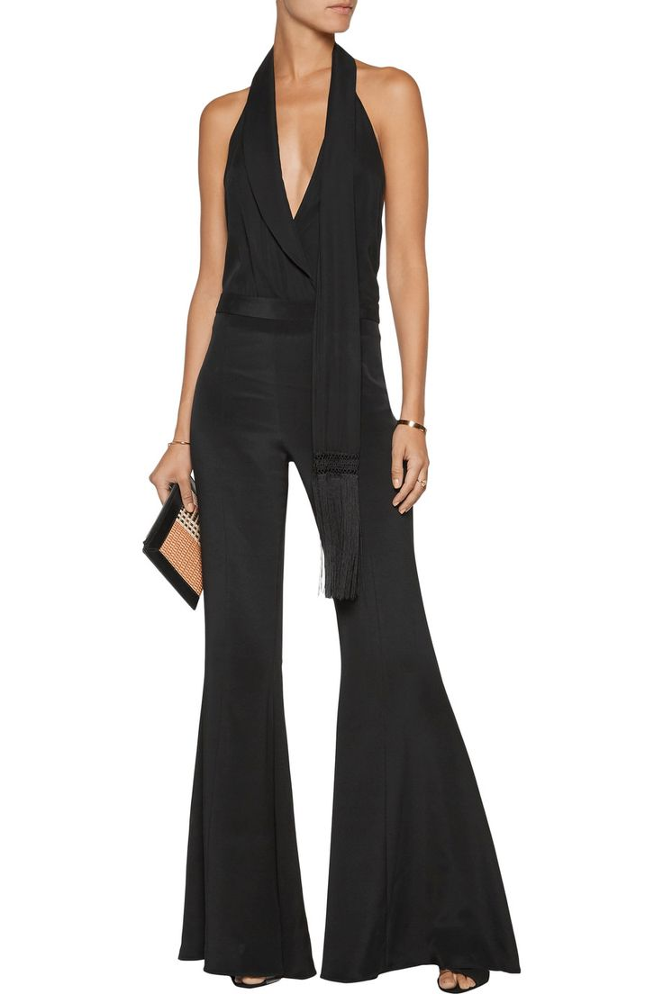 Haute Hippie |Silk-blend bootcut pants and draped silk-twill halterneck bodysuit - Black | THE OUTNET.COM