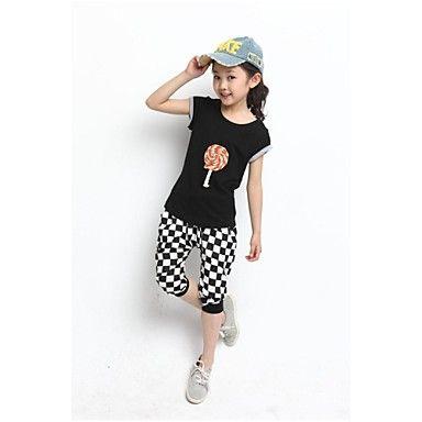 Girl's+Black+/+White+Clothing+Set+Cotton+Blend+Summer+–+USD+$+14.99