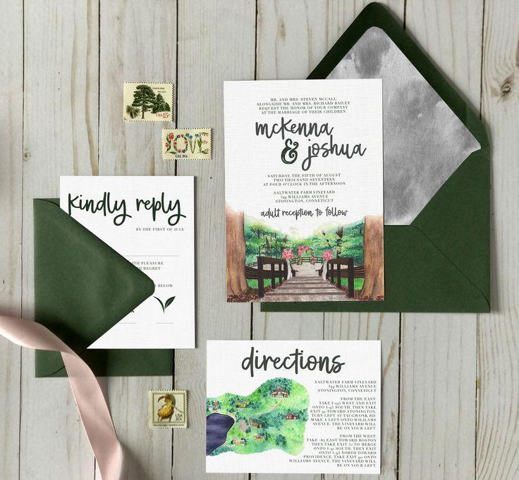 Watercolor Scene Wedding Invitation. Outdoor Wedding. Green Wedding  Invitations. Rustic Wedding Invitation.