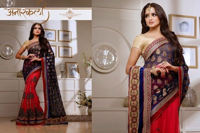 Superb Designer Party wear Pink and Dark Blue Georgette Chiffon Saree with Net Jacquard Pallu and Contrast matching Brocade  Blouse. Heavy work en-crafted all over.