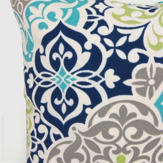 Outdoor Pillow Patio Cushion Aqua Navy Blue By