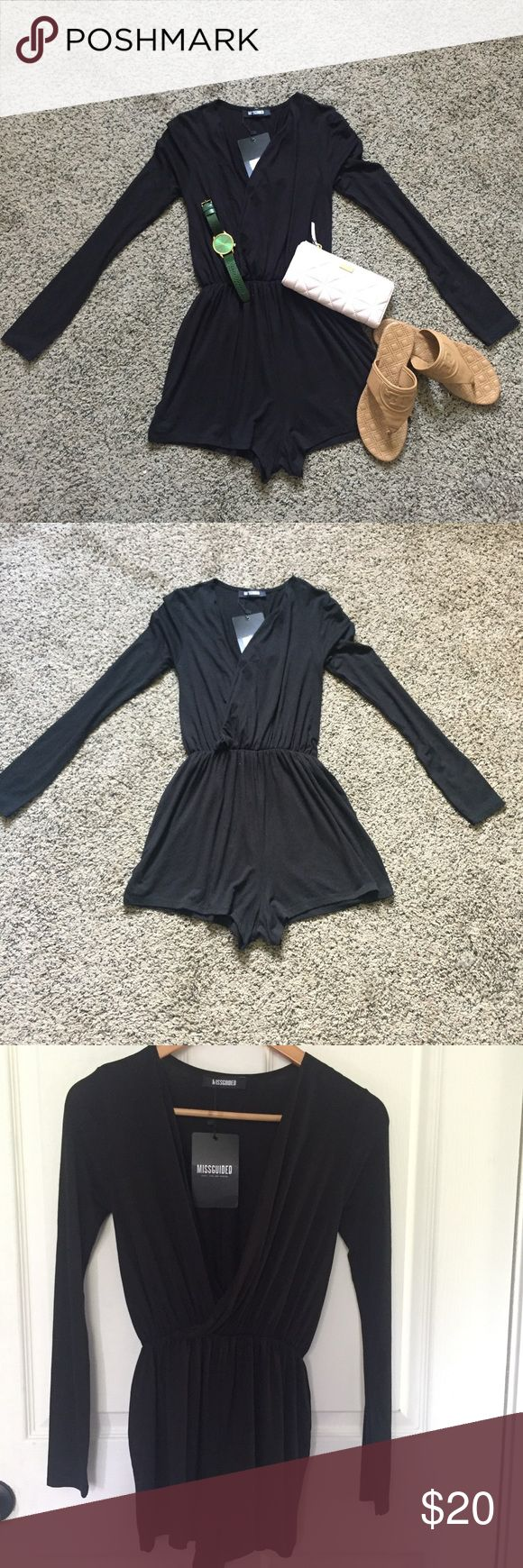 "Missguided black wrap front playsuit Missguided black wrap front playsuit. NWT LIGHT Weight. From top to bottom 28"". Missguided Other"