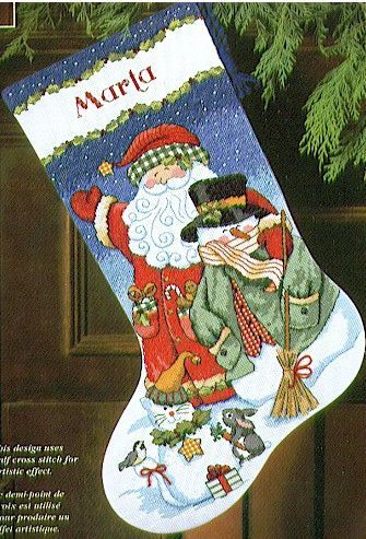 Dimensions Santa & Snowman Stocking - Cross Stitch Kit. A cheery holiday stocking design from Vicky Howard featuring Santa and his Snowman friend. Complete kit