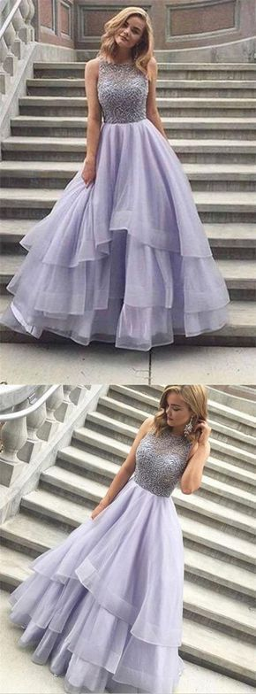 Sparkly Long Lavender Beaded Prom Dresses For Teens,Handmade Pretty Prom Gowns,Modest Party Dresses,Evening Dresses