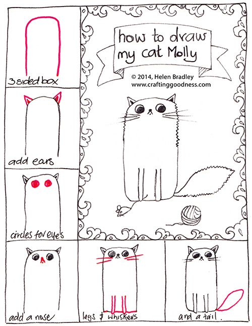 How to draw a fluffy cat (or a not so fluffy one) step by step.