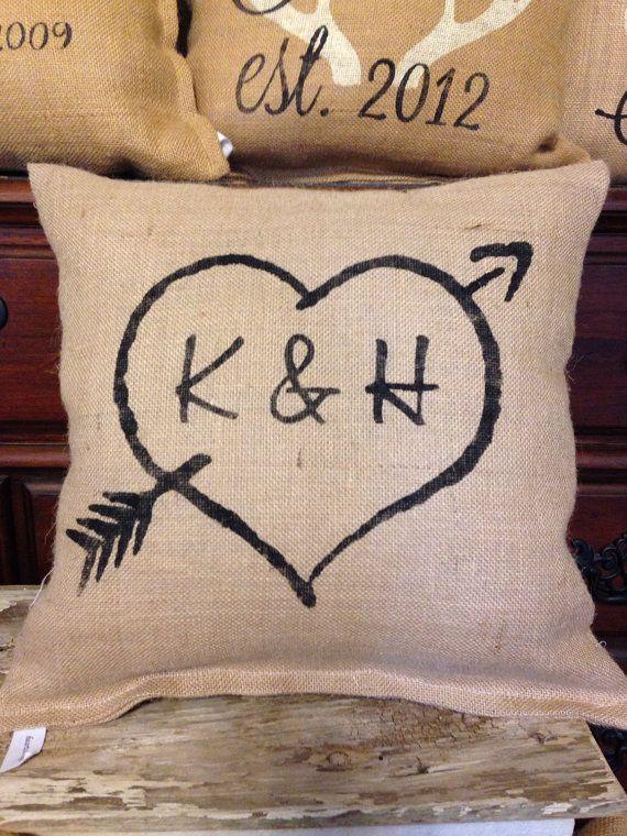 Personalized pillow, rustic wedding pillow, burlap pillow, heart and initials pillow