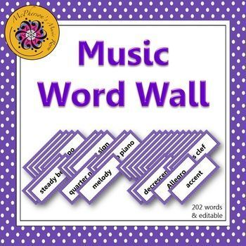 Your music students will be able to see your bulletin board or music word wall anywhere in the room! 202 words plus, an editable ppt slide is included to add a word if needed! Easy index to help select the words/pages you would like to print!