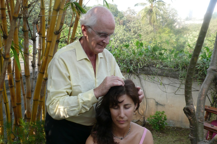Gaston Saint Pierre, the founder of metamorphic technique,  giving me a metamorphic technique session on the head. The cells touched here are anchoring patterns around our thinking, clarity, creativity, perception and the senses.