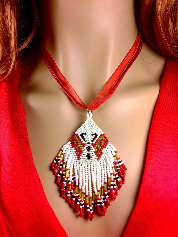 Handmade Beaded Red White Butterfly Pendant Necklace