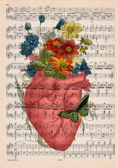 Pink human heart with flowers over music sheet Spring by PRRINT