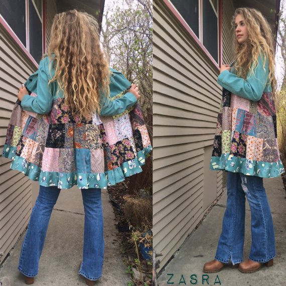 This is an original, one of a kind Zasra design. This listing is for the eco made, patchwork blazer jacket.    I am sooo in love with this new design, which has been in the back of my mind for quite some time now and I have finally made it! :)   For this design I started with a killer upcycled find, a stretch corduroy turquoise blazer. I then purchased several beautiful upcycled rayon prints, in shabby chic bohemian florals, and tapestry style prints. The prints came from other existing…